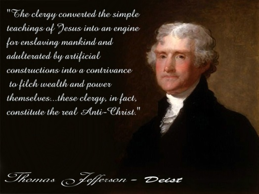 Image result for thomas jefferson did not believe in The Trinity